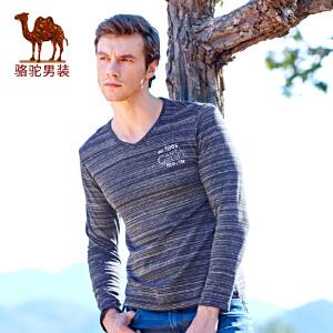 骆驼男装 新品时尚男士V领绣标长袖T恤衫青年休闲t恤男