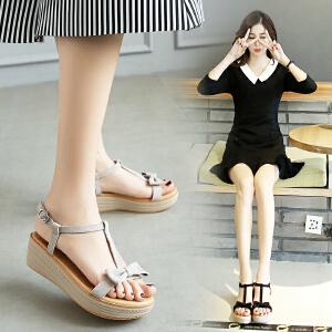 韩版牛皮绒面厚底凉鞋女鞋可爱蝴蝶结学生凉鞋露趾t字休闲鞋M172