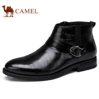 camel 骆驼男鞋 加绒保暖复古时尚休闲皮靴防滑商务休闲皮鞋