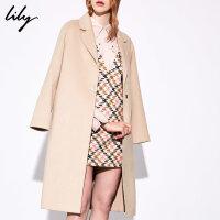Lily春秋新款女装OL简约显瘦过膝长款毛呢大衣羊毛外套1950