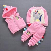 女宝宝冬季卫衣三件套装冬装婴儿童装纯棉衣服