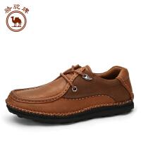 骆驼牌男鞋 秋冬新品 日常休闲皮鞋头层牛皮系带低帮男鞋潮