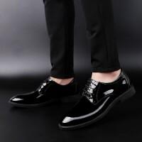 野图皮鞋男 夏季男士商务黑色休闲鞋时尚尖头鞋子内增高真皮正装韩版青年男鞋 黑色