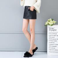 pu皮裙裤2018新款秋冬季高腰短款半身裙时尚韩版包臀裙超短裙女装 黑色