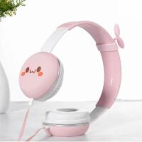耳机头戴式男女学生 儿童粉色手机带麦K歌音乐通用