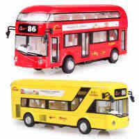 儿童单双层巴士大巴公交车公共汽车玩具车模型回力合金1-3-6男孩