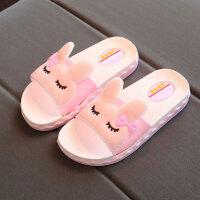 女童拖鞋夏季儿童室内防滑软底浴室可爱一字拖小公主韩版小孩凉拖