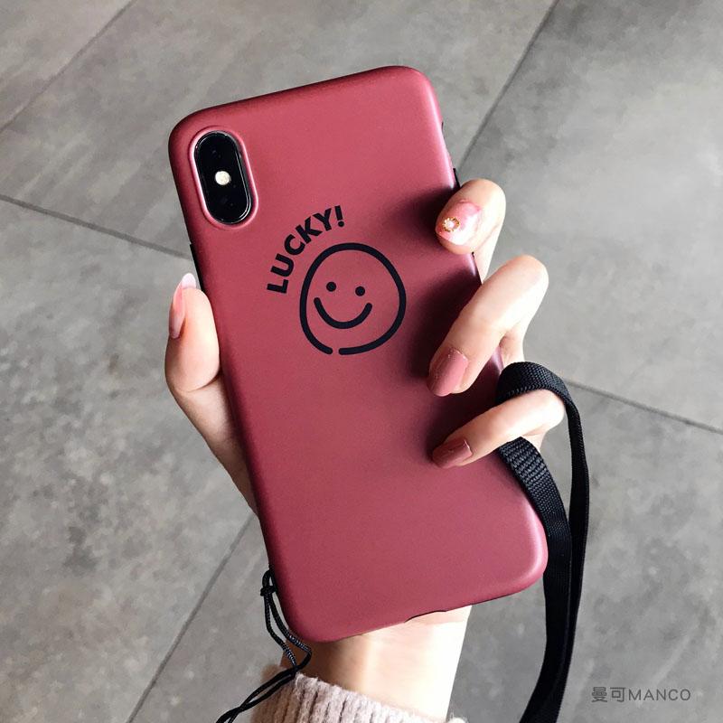 笑脸挂绳xs max苹果x手机壳8plus硅胶7p潮牌xr新款iphone6s女 6/6S 4.7寸