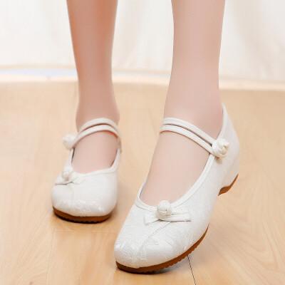 新款原创汉服鞋子老北京布鞋淡雅古风内增高绣花鞋古装搭配的鞋子