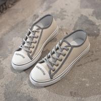 帆布鞋女�W生�n版百搭布鞋女鞋2019新款反光ulzzang板鞋夏季潮鞋