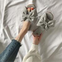 蝴蝶结平底拖鞋女夏外穿新款一字拖鞋凉拖鞋女学生韩版百搭沙滩鞋
