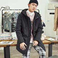 限时抢购价359唐狮羽绒服男中长款冬季新款修身韩版黑色外套保暖纯色上衣潮