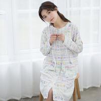 睡衣女秋天睡裙纯棉长袖薄款甜美可爱 少女连衣裙可外穿口袋长裙