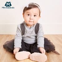 迷你巴拉巴拉女童针织长袖T恤2018秋季新款童装女宝宝套头体恤衫