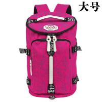 女士双肩背包三用包行李包帆布书包女韩版大容量双肩包健身背包多功能旅行包 玫红大号 印花