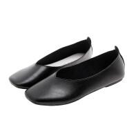 平底单鞋女2019新款韩版百搭浅口软皮奶奶鞋仙女方头复古软底鞋子百搭 35 偏小半码 女款