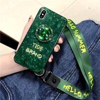 祖母绿iPhone8plus手机壳苹果x挂绳7plus潮牌xs max带支架指环iPho /s4.7 贝壳绿钻