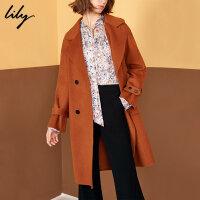 【开学季到手价:759元】 Lily冬柔软系带双排扣中长款毛呢大衣118419F1923