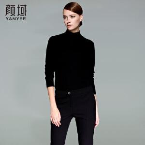 颜域品牌女装2017冬季新款简约纯色高领短款修身打底羊毛衣上衣