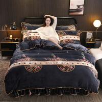 珊瑚绒四件套双面绒加厚被套法兰绒床单床裙冬季床上三件套 意蕴东方 加厚保暖 活性印染 不掉色 四件套 2.2m床裙款