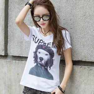 卡茗语 韩版夏季打底衫短袖T恤印花纯棉修身透气