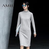 AMII[极简主义]秋冬新款高领开叉长袖针织毛衣连衣裙11672029