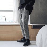秋冬季毛呢面料条纹休闲裤男士锥形裤子潮流直筒裤韩版宽松九分裤 灰色