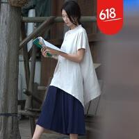 棉麻短袖衬衫夏季中长款文艺复古宽松透气原创女装中国民族风上衣GH085 乳白色