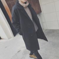 春秋冬季男士英伦风衣2018流行新款中长款外套毛呢子大衣韩版潮流 黑色 M