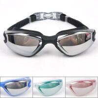 新款男士游泳镜 防水防雾大框电镀游泳镜 女式款近视时尚游泳眼镜