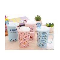 日照鑫 包邮 创意卡通hello kitty可爱陶瓷杯带盖带勺马克杯女水杯茶杯咖啡杯(一个装 )