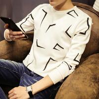男士长袖T恤 圆领t喷墨图案 原创青少年学生外衣 韩版修身打底衫0