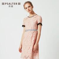 诗篇女装2018款夏季新款知性蕾丝镂空收腰连衣裙
