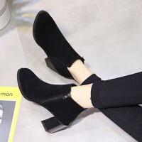 女鞋秋季新款高跟短筒马丁靴韩版百搭高跟短靴女粗跟及裸靴潮女鞋 黑色 36