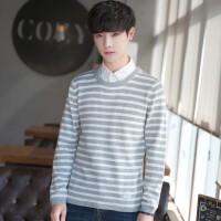 秋冬季男士针织衫圆领长袖毛衣套头小条纹韩版潮流学生修身针织衫