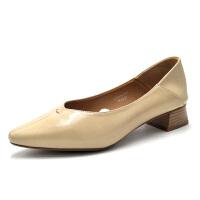 依思q2019新款尖头浅口粗跟复古奶奶鞋百搭女单鞋18170016