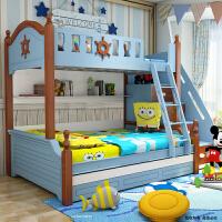 御目 儿童床 家用简约男孩地中海双层床女孩高低床上下床子母床上下铺成人小孩组合床满额减限时抢礼品卡儿童家具