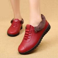 新款软皮加绒妈妈棉鞋老北京冬季短靴女软底雪地靴中老年女皮鞋 低帮红色11