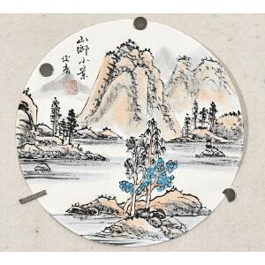 当代实力派画家周俊青小品圆心山水画gs01121
