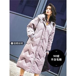 七格格过膝金丝绒羽绒服女中长款冬季装2018新款时尚韩版厚外套潮
