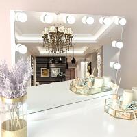 化妆镜带灯梳妆台led灯泡家用台式壁挂挂墙公主梳妆镜大 60*80cm横款LED白光灯泡(壁挂) 不含底座