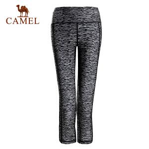 camel骆驼运动女款针织七分裤 弹力透气时尚舒适运动裤女
