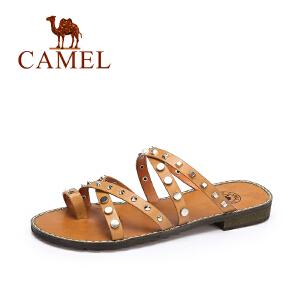 骆驼女鞋  夏季新款 时尚个性女拖鞋 欧美朋克风铆钉低跟拖鞋
