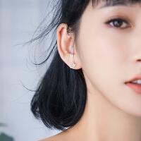 纯银耳钉女气质韩国个性创意简约迷你花朵耳饰品时尚潮人