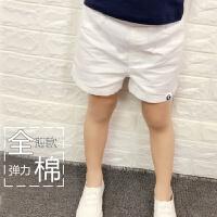 2017童装儿童全棉白色短裤男童休闲短裤女童短裤宝宝纯棉裤子 白色 (模特小标款)