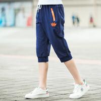 男童运动裤薄款夏中大童裤子宽松休闲短裤2018夏季新款七分裤透气 藏青色 【AB308#款】