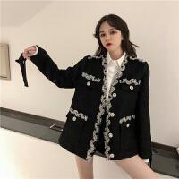 轻奢小香风短款春季韩版时尚宽松钉钻花边毛呢外套女大衣女三件套