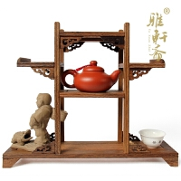 鸡翅木雕博古架紫砂壶中高古玩红木底座红木家具奇石底座茶壶架