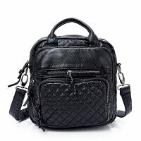 手提包女款手拎包新款多用菱格绣线双肩包女包手提单肩软面斜挎小背包潮 黑色手提