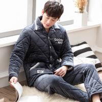 珊瑚绒夹棉睡衣男冬季三层保暖加厚加绒男冬款家居服棉袄男士套装 8083 是M(110-125斤)